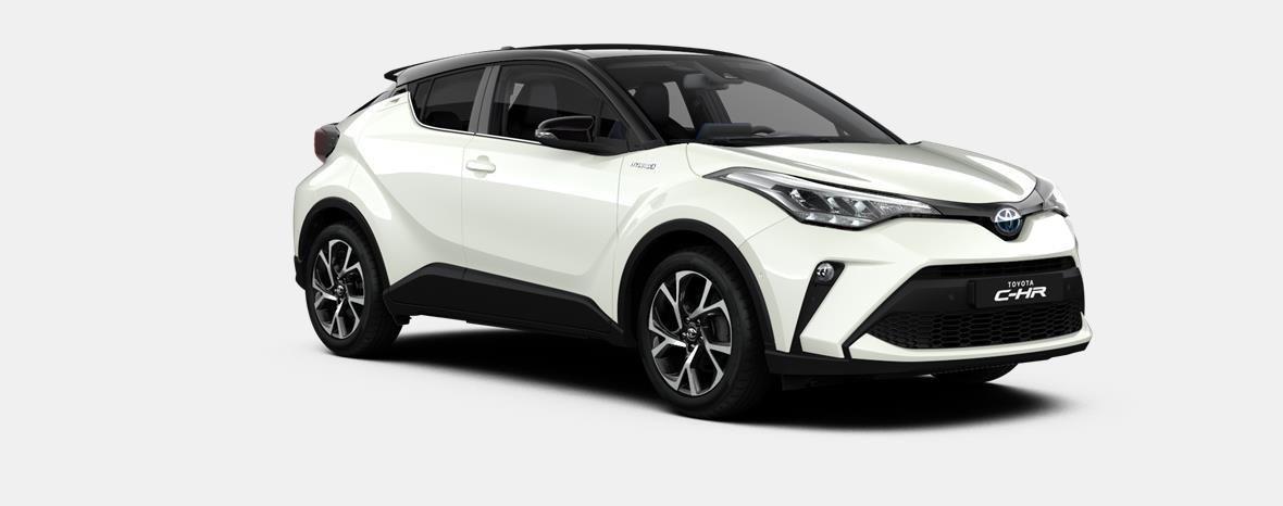 Nieuw Toyota Toyota c-hr 5 d. 1.8L Hybrid CVT C-LUB BI-TONE LHD 2NA - Pearl white  / black 4