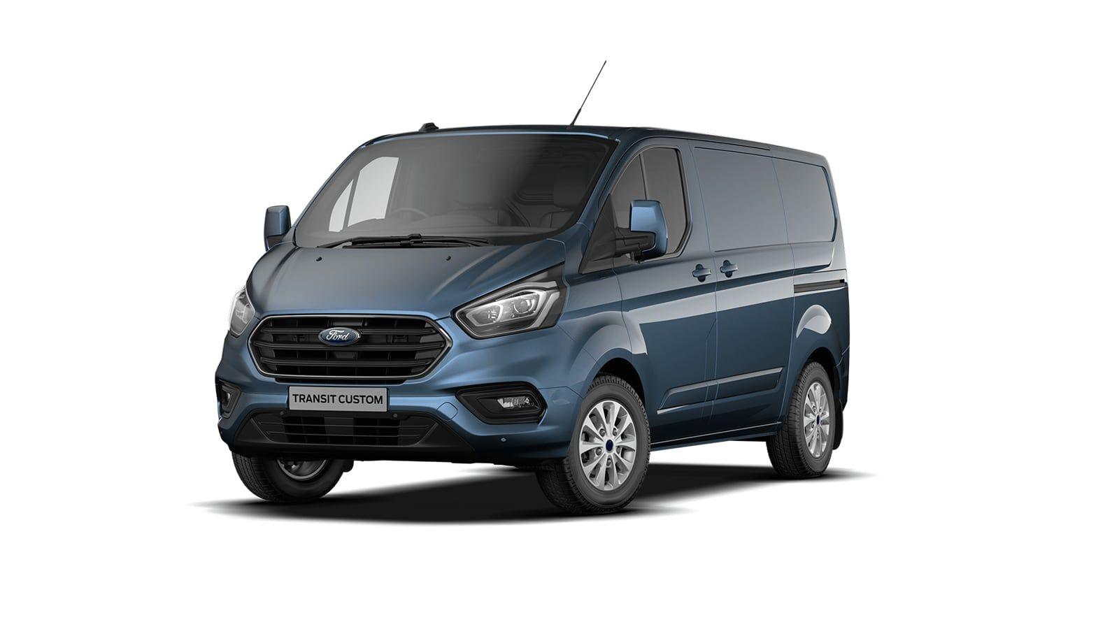Nieuw Ford Transit custom 340S Gesloten bestelwagen L1 Limited pHEVAut 1.0 Petrol 125 BYB - Metaalkleur: Chrome Blue 1