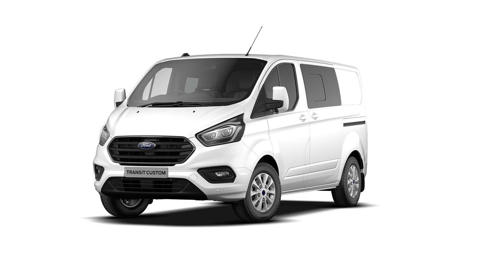 Nieuw Ford Transit custom 320L Multi use: bestelwagen met dubbele cabine L1 Limited MS BYW - niet-metaalkleur: Frozen White 1