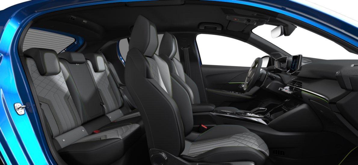 Nieuw Peugeot New 208 Berline 5 portes GT Pack Electrique e- AUTOMATIQUE A REDUCT Bleu Vertigo (M6SM) 12